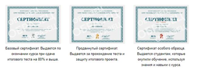 Образцы сертификатов