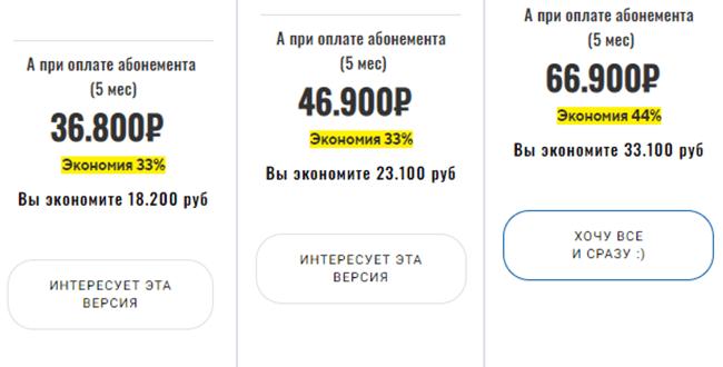 Цены абонементов на 5 месяцев