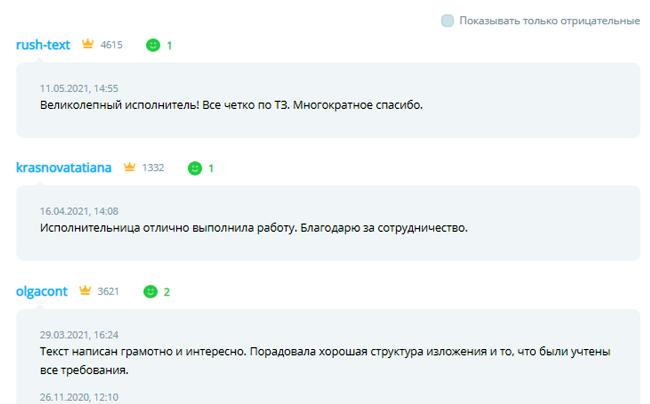 Пример отзывов о копирайтере